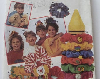 Hair Scrunchies and Ponytail Holders Pattern UNCUT Simplicity 8517 Girls Hair Accessories in 17 Styles Vintage 1990s