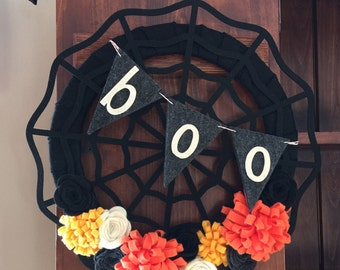 Halloween Wreath Halloween Decoration Halloween Décor Felt Flower Wreath Black Orange Cream Gray Wreath