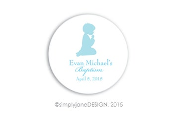 Baptism or First Communion Favor Stickers, Labels -- 2 inches, Sheet of 20, praying boy, praying child, light blue