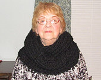 The Maximus Cowl knitted in black.Bulky,beautiful stitches,warm ,Teens, Women,Wear diff, ways good workmanship,washable ,cool dryer
