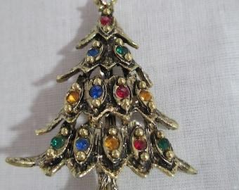 Christmas Tree Pin/Rhinestone Tree Pin /Mid Century Brooch/Rhinestone Brooch/Vintage Tree Pin/ by Gatormom13