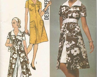 1970s Mini Skirt Dress with Back Zipper Tunic Pants V Neckline Wing Collar Simplicity 9203 Size 10 Bust 32.5 Women's Vintage Sewing Pattern