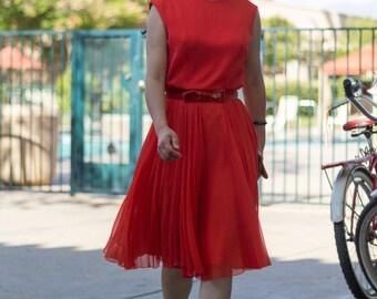 60s cocktail party dress chiffon tangerine dream fashion show featured item size 8 10 Medium flowing lightweight