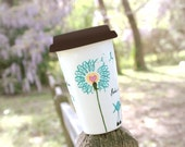 Teal Ribbon Birds & Dandelion Ovarian Cancer Awareness : Porcelain Travel Mug - Making the Journey Together