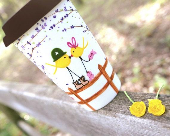 Country Love Smooch - Yellow Ribbon Military Birds Travel Mug : Vozarts Studios