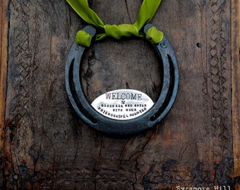 The WELCOME Horseshoe. Personalized for Your Home. The Handmade Original by Sycamore Hill. Rustic Equestrian Home Decor. Welcome Sign.
