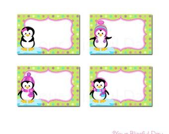 PRINTABLE Girl Penguins Label Tents #708