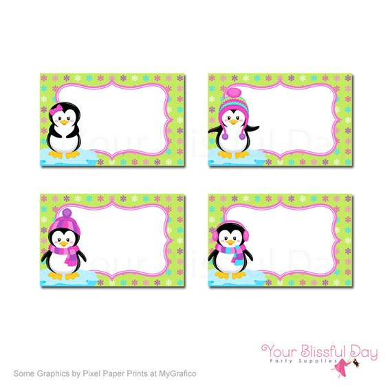 PRINTABLE Girl Penguins Label Tents #708
