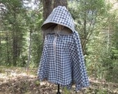 Medieval Renaissance LARP Wool Plaid Full Circle Half Length Hooded Cloak with Liripipe