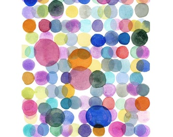Original Abstract Watercolor Painting - Minimal art - Colored Dots - Modern Wall Art