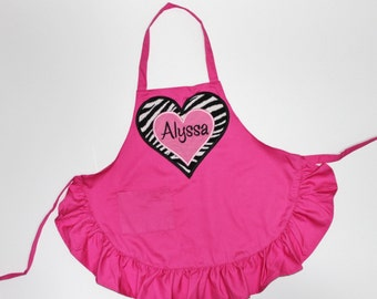 PERSONALIZED Hot Pink and Zebra Child's Ruffled Apron