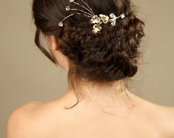 Bridal Gold hair comb with Leaves and rhinestone , wedding gold hair comb, wedding hair accessories,