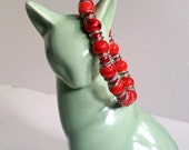 Stack Bracelet, Candy Apple Red Bracelet, Available Elastic or Clasp, Sizes 6' to 9'
