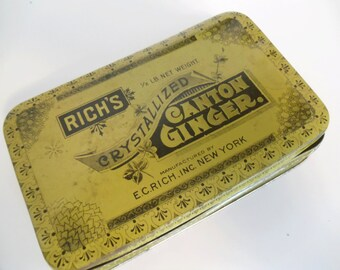 Rich's Crystallized Canton Ginger Tin, Advertising, Vintage Storage Tin