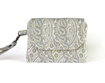 Ladies Clutch Bag - Cell Phone Wallet Wristlet - Paisley Wrist Wallet - Womens Zippered Pouch