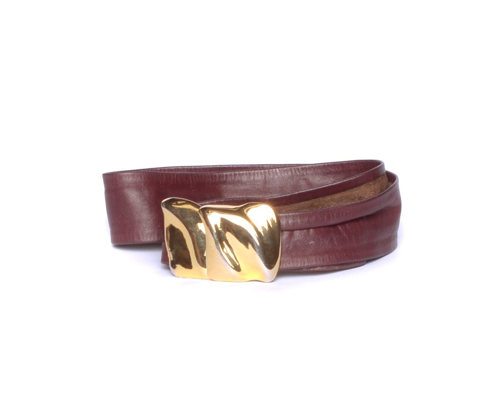 burgundy leather belt gold buckle 80s cinch by