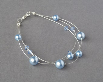 Pale Blue Floating Pearl Bracelet - Powder Blue Bridesmaids Jewellery - Multi-strand Bracelets - Bridal Party Gifts - Soft Blue Wedding