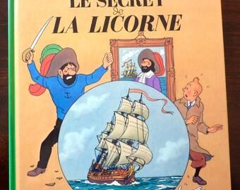 Vintage French Comic Book - Les Aventures de TINTIN - Le Secret de la Licorne - HERGE (1974)