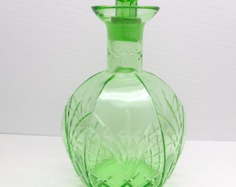 Vintage Green Glass Decanter