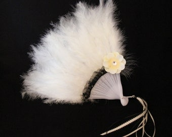 Girls Feather Fan - Cream Feather Fan - Child's Fan - Tea Party Accessory - Ivory and Black Feather Fan - FF30