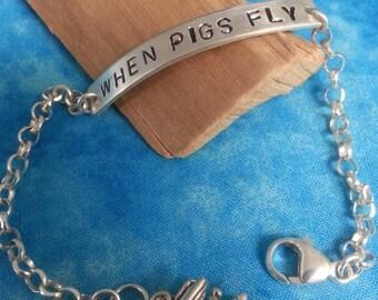 "Sterling Silver ""When Pigs Fly"" Bracelet"