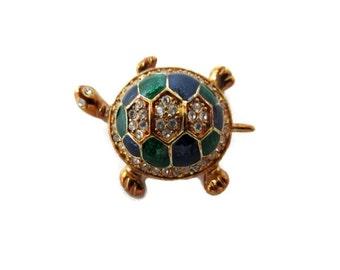 rhinestone turtle brooch, blue, gold tone trim, green enamel, wedding bouquet, small brooch, vintage