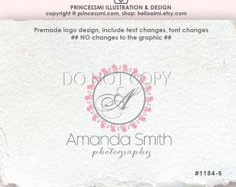1184-6  initial logo, logo design, premade logo, whimsical, Scrolls sketch frame, photography business boutique , watermark