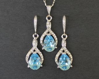 Aquamarine Jewelry Set, Custom Set, Bridal Jewelry Set, Blue Bridesmaids Jewelry Set, Crystal Necklace & Earring Set, RIBBON TWIRL