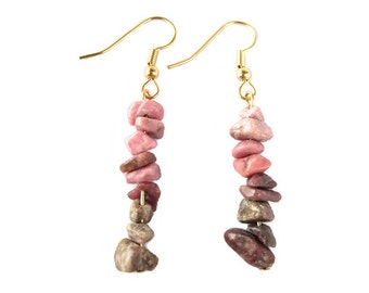 Pink and Grey Stone Chip Earrings