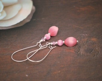 Pink Earrings, Cats Eye Earrings, Pink Dangle Earrings, Light Pink Earrings, Silver and Pink Earrings, Pastel Pink Earrings, Gift for Her