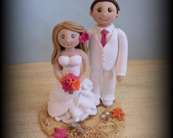 Wedding Cake Topper, Custom Wedding Topper, Bride and Groom, Beach Theme, Personalized, Polymer Clay, Keepsake