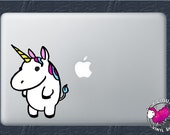 Fun Color Fat Cute Unicorn Vinyl Decal Stickers Kids Children Stuffed Animal Baby Babies Fantasy Rainbow Button Standing Pony Horse Candy