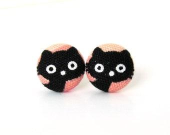 Black cat earrings - kitten earrings - kawaii children kids cute black salmon peach kitty