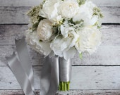 Ivory Peony and Ranunculus Wedding Bouquet with Dusty Miller and Berries