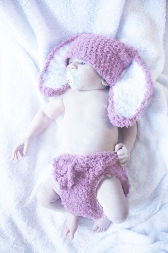 SALE 6 to 12m Baby Bunny Hat And Crochet Diaper Cover Set Baby Beanie Crochet Baby Hat Bunny Ears in Plum White Bunny Prop Halloween Gift