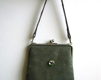 1930s purse with glass dog green leather scotty scottie intaglio art deco tiny small