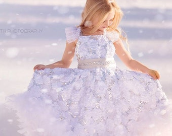 Pure Heaven - Exquisite White sequin Flower Girl Dress, Feather Dress