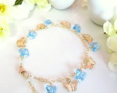 Cinderella blue Swarovski butterfly gold bracelet, Gold butterfly blue Swarovski crystal high quality bangle charm bracelet