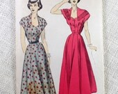 Vintage Pattern Advance 5136 dress sewing gored skirt Shawl collar 1940s 1950s dress fit and flare Bust 34 shirtwaist