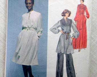 Vintage 1970s sewing pattern Christian Dior Vogue Paris Original 1567 Tie waist dress Tunic Bust 32.5 Pintuck pants suit