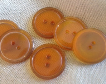 Six Vintage Apple juice Translucent Two Hole Flat Bakelite Button