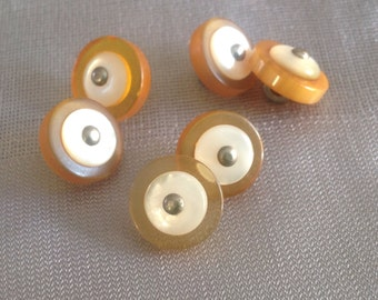 Six Vintage Translucent Bakelite Buttons with MOP Centers and Pinhead Shank