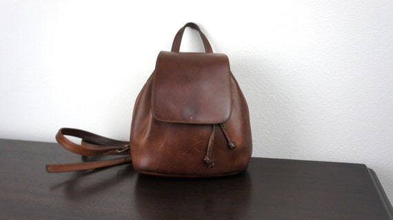 Unique Vintage Small Leather Backpack Handmade Boho Style