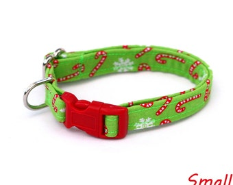 Christmas Dog Collar - Red Candy Canes on Bright Green - Mini Small Medium Large XL Dog Collar