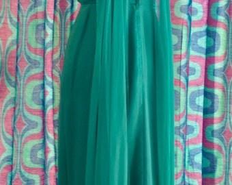 Vintage 60s TURQUOISE Chiffon Goddess Dress S M