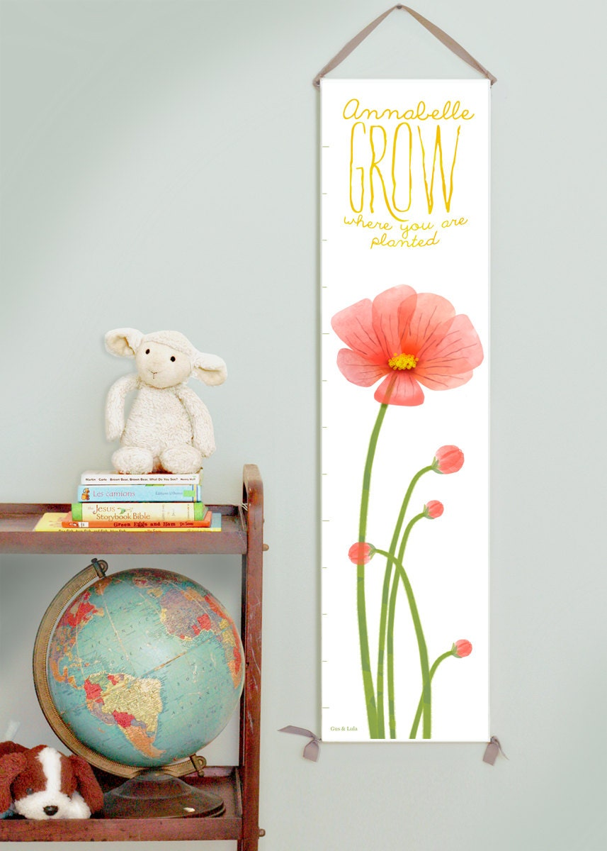Custom/ Personalized Grow Where You Are Planted red poppies canvas growth chart
