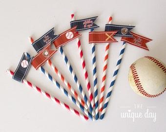 Baseball Straw Flags - Baseball birthday party - Printable - DIY - Instant Download// BAS- 06