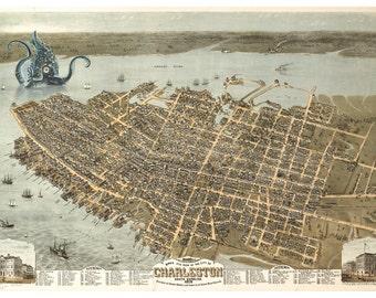 Digital Print Charleston SC Octopus Tentacles Charleston Map Monster Art Alternate Histories Wall Art Geekery