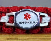 Penicillin Allergy Bracelet, Medical Alert Bracelet, Survival Bracelet