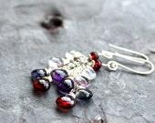 Multi Gemstone Earrings Cascade Garnet Iolite Amethyst Rose Quartz Sterling Silver Long Dangle Red Blue Purple
